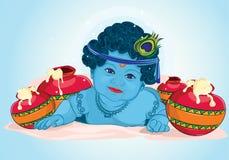 Lord Krishna con 2 makhaan illustrazione vettoriale