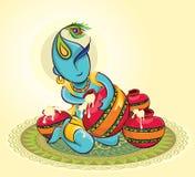 Lord Krishna con makhaan illustrazione vettoriale