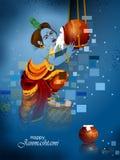 Lord Krishna die makhan room op Gelukkige Janmashtami-de groetachtergrond van het vakantie Indische festival eten vector illustratie