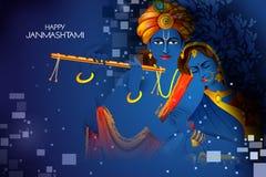 Lord Krishna e Radha che giocano flauto sul fondo indiano di festival di festa felice di Janmashtami royalty illustrazione gratis