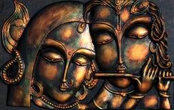 Lord Krishna ed il suo ladylove Fotografia Stock