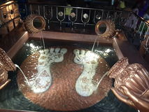 Lord krishna footprints. Coins in the water for good wishes Stock Photos
