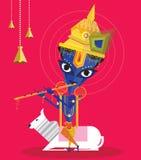 Lord Krishna geniet van speel fluit Stock Afbeelding