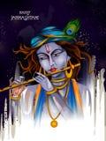 Lord Krishna-het spelen fluit op Gelukkige Janmashtami-de groetachtergrond van het vakantie Indische festival vector illustratie