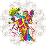 Lord Krishna-het spelen holi met gopies Royalty-vrije Stock Afbeelding