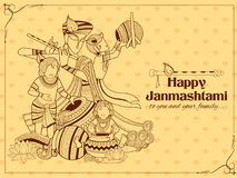 Lord Krishna with Hindi text meaning Happy Janmashtami festival of India Stock Photography