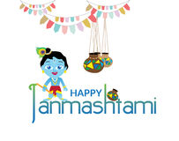 Lord Krishna - Janmashtami royaltyfri illustrationer