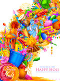 Lord Krishna playing flute in Happy Holi background Stock Images