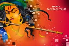 Lord Krishna que toca la flauta en fondo indio del saludo del festival del día de fiesta feliz de Janmashtami ilustración del vector