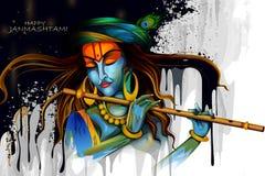 Lord Krishna que toca la flauta en fondo indio del saludo del festival del día de fiesta feliz de Janmashtami stock de ilustración