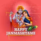 Lord Krishna and Radha on Happy Janmashtami background Royalty Free Stock Photos