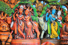 Lord Krishna and Radha statues. In India Stock Photos