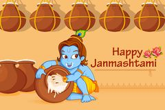 Lord Krishna stealing makhaan in Janmashtami Royalty Free Stock Image