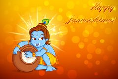 Lord Krishna stealing makhaan in Janmashtami Royalty Free Stock Photos
