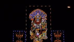 Lord Narasimha met geleide verlichting wordt aangestoken die Royalty-vrije Stock Foto
