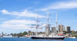 Lord Nelson a unique tall ship operated by the Jubilee Sailing Trust sail in Sydney harbor. SYDNEY, AUSTRALIA - OCTOBER 5,2013: Lord Nelson a unique tall ship royalty free stock image