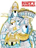 Lord Ram, Sita, Laxmana, Hanuman and Ravana in Dussehra Navratri festival of India poster Stock Photography