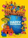 Lord Ram, Sita, Laxmana, Hanuman and Ravana in Dussehra Navratri festival of India poster Royalty Free Stock Image
