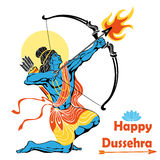 Lord Rama with bow arrow.Happy Dussehra Royalty Free Stock Images