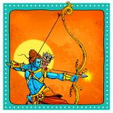 Lord Rama with bow arrow killimg Ravana Royalty Free Stock Photography