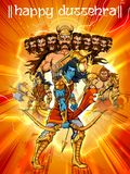 Lord Rama with bow arrow killing Ravan in Dussehra Navratri festival of India poster Royalty Free Stock Photos