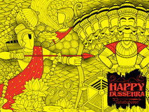 Lord Rama with bow arrow killing Ravan. Illustration of Lord Rama with bow arrow killing Ravan in Dussehra Navratri festival of India poster Royalty Free Stock Photos