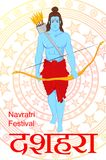 Lord Rama with bow and arrows for Dussehra Navratri festival vector illustration