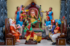 Lord Rama, the breaker of the divine bow. Dolls depicting the scene from Ramayana where Lord Rama breaks the divine bow and weds Sita stock photos