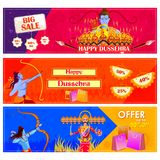 Lord Rama killing Ravana in Happy Dussehra festival offer. Vector illustration of Lord Rama killing Ravana in Happy Dussehra festival offer Stock Images