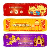 Lord Rama killing Ravana in Happy Dussehra festival offer. Vector illustration of Lord Rama killing Ravana in Happy Dussehra festival offer Stock Photography