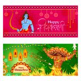 Lord Rama killing Ravana in Happy Dussehra festival offer. Vector illustration of Lord Rama killing Ravana in Happy Dussehra festival offer Royalty Free Stock Photos