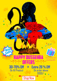 Lord Rama killing Ravana in Happy Dussehra. Illustration of Lord Rama killing Ravana in Happy Dussehra sale promotion poster Royalty Free Stock Images