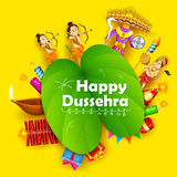 Lord Rama, Laxmana, Hanuman and Ravana. Illustration of Lord Rama, Laxmana, Hanuman and Ravana with sona patta in Happy Dussehra background Stock Photography