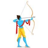 Lord Rama med pilbågen och pilen vektor illustrationer