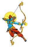 Lord Rama med pilbågepilkillimg Ravana Arkivbilder