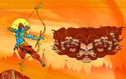 Lord Rama med pilbågepilkillimg Ravana Royaltyfria Bilder