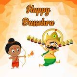 Lord Rama que mata Ravana no festival feliz de Dussehra ilustração do vetor