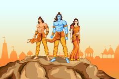 Lord Rama, Sita and Laxmana in Dussehra poster Royalty Free Stock Photos
