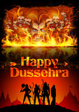 Lord Rama, Sita, Laxmana, Hanuman and Ravana in Dussehra poster Stock Photos