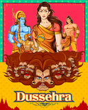 Lord Rama, Sita, Laxmana, Hanuman and Ravana in Dussehra poster Royalty Free Stock Image