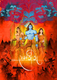 Lord Rama, Sita, Laxmana, Hanuman and Ravana in Dussehra poster Royalty Free Stock Photography