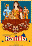 Lord Rama, Sita, Laxmana, Hanuman and Ravana in Dussehra poster Stock Photo