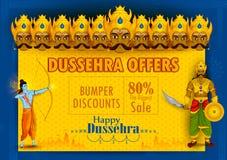 Lord Rama som dödar Ravana under den Dussehra festivalen av bakgrund för annonsering för Indien försäljningsbefordran royaltyfri illustrationer