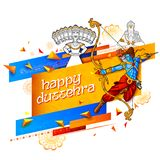 Lord Rama and ten headed Ravana for Happy Dussehra Navratri sale promotion festival of India stock illustration