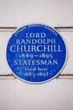 Lord Randolph Churchill Blue Plaque en Londres Imágenes de archivo libres de regalías