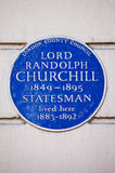 Lord Randolph Churchill Blue Plaque i London Royaltyfria Bilder