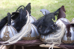 The Lord of the rings Fantasy: Rohirrim helmets. Fantasy The Lord of the rings: Rohan Warriors helmets stock photo