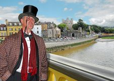 Lord rochester on bridge. Photo of a high society gent lord of the manor posing on rochester bridge with rochester castle in background in kent england Stock Images