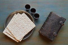The Lord`s Supper with bread, wine and bible Stock Images