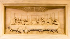 Lord's Supper carving Royalty Free Stock Photos
